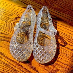Kids Jelly Clear Silver Sparkle Sandals
